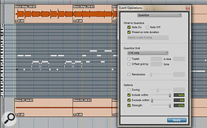 MIDI derived from the low synth-bass audio file (via Melodyne) was quantised to sit tightly with the live drums.