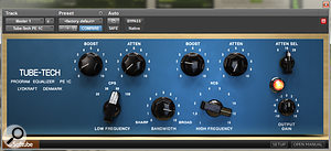 Softube's Tube-Tech PE1C EQ plug-in was used to apply a broad high-frequency boost on the mix bus.