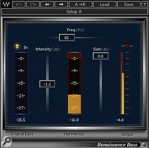 Waves' RBass plug-in was used to create the impression of more low end on the bass, and EQ and a touch of spring reverb completed the sound.
