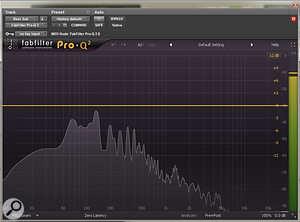 A snapshot of the frequency content of the bass guitar without any mix processing.