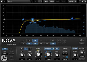 Conventional EQ wasn't cutting the mustard when trying to control the low mid-range of the acoustic rhythm guitar, so Neil turned to Tokyo Dawn Labs' Nova GE dynamic equaliser, which left more of the wanted sound intact when EQ cuts weren't required. The part was also treated to parallel compression via a dbx 160 emulation, to give it some solidity.