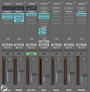 With 32 tracks in a mix, it's easy to lose your way. Bussing parts to group channels can make the mix more manageable, as well as reducing the strain on your computer's CPU when you apply effects at group level.