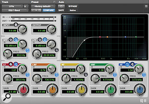 To mitigate any low-frequency problems arising from the less-than-ideal monitoring environment, 12dB/octave high-pass filtering was used as a  safety precaution on pretty much every track (as you can see in the top screenshot). However, these filters were also used in their 6dB/octave mode for low mid-range frequency tailoring (middle screenshot) or in 18dB/octave mode to remove unwanted subsonics from the bass part without unduly tampering with the balance of its note fundamentals.