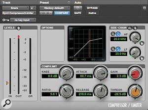 In the absence of any dedicated transient processor, Mike instead used this slow-attack compression setting to boost the snare close-mic's attack.