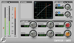 The lead vocal had a fairly moderate 2.2:1-ratio compression setting during the song's verses, but this was chained with a  more aggressive UREI 1176-style limiter (below) for the song's higher-energy chorus sections.