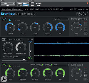 An other-worldly delay effect was generated using Eventide's Fission.