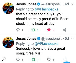 Twitter reaction from Jesus Jones band to Vietnam Flashbacks' remixed track.