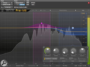 The raw vocal tone was rather light and a bit sibilant. Another instance of Fabfilter's Pro‑MB helped add mid-range weight and de-emphasise the top end.