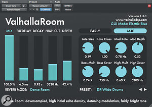 The Valhalla Room reverb plug-in was used to add some extra ambience to the whole drum kit.
