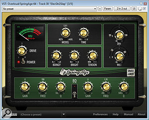Here are acouple of the effects used on the guitars in this mix to enhance their rough-hewn, rootsy character: Overloud's SpringAge spring reverb and The Interruptor's Tape Delay.