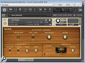 Additional rock-organ layers were added by running the 'Jazz Organ' patch from Native Instruments' Kontakt through Melda's MAmp distortion and then through FX Point Audio's Spinner LE rotary-speaker emulator.