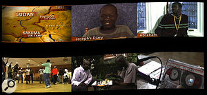 Scenes from Dinka Diaries (clockwise from top left): the film explains the background to the conflict in the Sudan which leads to Dinka like Joseph and Abraham coming to the States. Partly guided by audio cassettes of advice from their village elders in their former homes, they begin to assimilate, both into the community of other Dinka based in the USA, and also into wider American society.