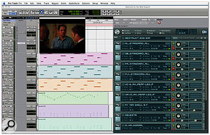 An excerpt from the finished score to the first scene from The Destruction Of Civilization introduced last month, as seen in Pro Tools, with the scene itself running in a video window locked to the soundtrack, and the various sampled instruments making up the score (harp, cello, bass, celeste, clarinet and bassoon) visible in the background.