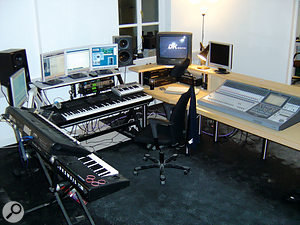 The latest version of the author's setup. Note the hardware Sony mixer on the right, despite the plentiful provision of mixing options within Sonar and/or Nuendo on the main music PC.