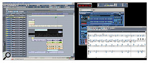Two Sonar screens (the author's sequencer of choice) showing scoring work underway on his multi-monitor setup.