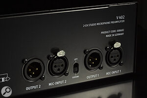 Unusually for a mic preamp, theV402 is equipped with a ground-lift facility.