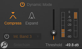Most of the Equalizer module's filter types can be switched to dynamic operation, and will operate in either compressor or expander mode. The per-band side-chain input allows for a  range of mind-bending mix-salvage stunts, although unfortunately there are no ratio, attack or release controls to refine the gain-change characteristics.