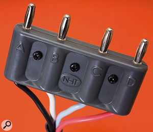 25-foot cables are supplied to connect each speaker to the amplifier, and they are terminated in a special four-pin banana plug to make setting up easy.