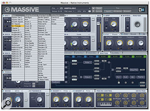 The wavetable list gives Massive's oscillators a large number of sonic starting points.