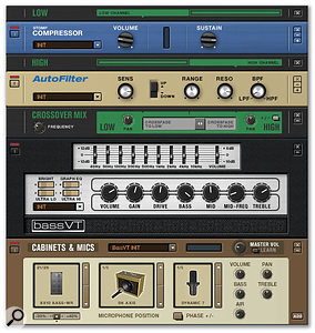 A new Crossover Mix module allows the input signal to be divided into high and low-frequency sections, which can then be processed separately. This is especially useful for bass patches: also shown are the new BassVT amp model and the Auto Filter, used on the 'high' split.