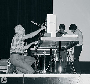 Bob Moog prepares to demonstrate the revolutionary new technology 'MIDI' in Vancouver, 1983.