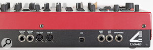 Stripped down to the essentials: the rear panel of the Nord Wave, featuring MIDI In and Out, stereo audio outs, pedal connections, headphone socket and USB port for computer interfacing.