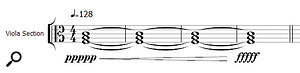 A simple triad scored for violas — Notion plays back the crescendo!