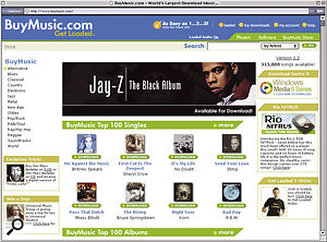 Apple's iTunes Music Store (above) has been a big commercial hit, but its very success has ensured that a crowd of competitors are now starting up, eager for a piece of the on-line action, such as the relaunched Napster 2 (top left) and Buymusic.com (below).