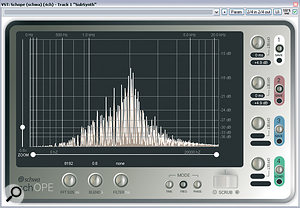 Even if you use EQ to carefully isolate only aspecific frequency region of your pad, the pitches of the notes you use still have adramatic effect on the density of the harmonics added. For example, in these two screenshots, EQ has been used to restrict asynth sound to anarrow band of mid-range frequencies, but you can still clearly see the difference in harmonics spacing when the same chord is played in two different registers several octaves apart.
