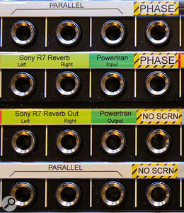 Spare sockets on your patchbay can be put to good use. For example, you can easily wire up polarity inverters,pads and mults (parallel outputs) for convenient access.