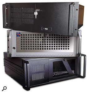 A rackmounting case like these ones used by (top to bottom) NuSystems, Red Submarine and Millennium Music will protect your PC far better than any desktop or tower case when on the road, and they have lockable front panels to prevent tampering while they're on stage.