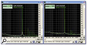 Although they look quite different, both these plots are for interfaces with excellent Total Harmonic Distortion figures lower than 0.001 percent. You can see the 1kHz sine wave test signal at near maximum level, and the resulting low levels of harmonics that are generated by the interface at 2kHz (second harmonic), 3kHz, (3rd), 4kHz (4th), and so on. The difference is that the interface on the left has a 10dB better dynamic range, so its noise floor is also significantly lower.