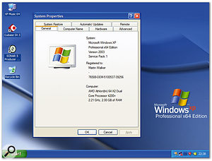 The only visible signs that you're running Windows XP Professional x64 are a new desktop background and the General page of the system applet.