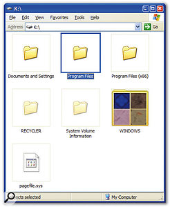 Windows XP Pro x64 has two folders for 'Program Files'. The 64-bit applications are automatically housed in the main one (highlighted) when you install them, while the x86 folder stores 32-bit 'legacy' applications.