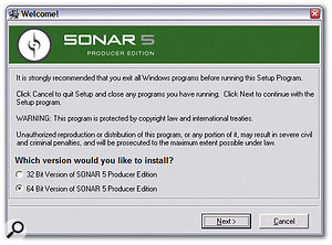 Cakewalk's Sonar 5 Producer Edition already ships with 32-bit and 64-bit versions on the same CD-ROM. Let's hope we get similar options from many more software developers soon!
