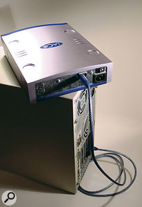 An external Firewire drive is an ideal companion to PC desktop and laptop computers, since you can move an audio project from one to the other without rebooting.