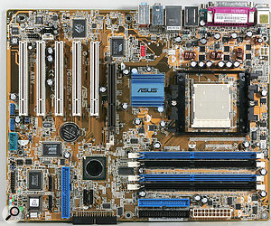 The easiest and cheapest way to achieve dual-core performance is to ignore PCI Express and use an older motherboard, like the Asus A8V shown here, coupled with an AMD Athlon X2 processor.