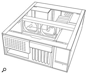 This engineering drawing shows the rear of the PaQ (Powerful and Quiet) case, which is extremely quiet. You can see the perforations of the acoustic mufflers mounted on both front and rear panels, and two of the three low-speed, low-noise 120mm case fans halfway across the case.