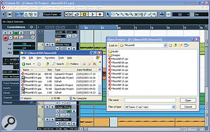 By adopting a numeric approach to the naming of songs, you can easily associate various different file types with each song version you save (left-hand Explorer window), while when you open a project in your sequencer they can easily be sorted into chronological order (right-hand Open Project window).