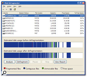 The Disk Defragmenter utility bundled with Windows XP.
