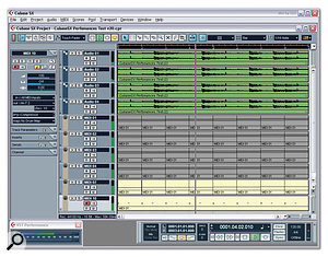 The 'FiveTowers' test for Cubase SX is a useful measure of CPU performance, although reporting an accurate CPU meter reading can be difficult.