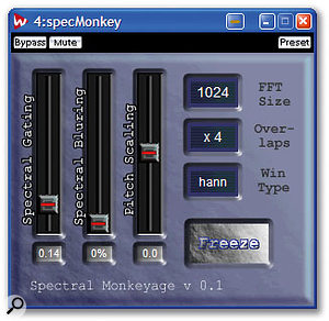 Simple spectral gating using a plug-in like Shiny FX's Spectral Monkeyage is useful for noise reduction or special effects, while the more sophisticated Soundhack Spectral Compand (above) can also increase harmonics and ambience, and flatten frequency response.