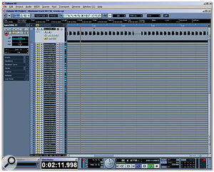 In this Cubase SX Project, you can see that the Disk Meter (lower left) is displaying an overload, even though only a single audio track is actually playing. Muting the other 50 or so tracks makes no difference, because they are still being streamed in anticipation of you un-muting them and wanting to hear them immediately.