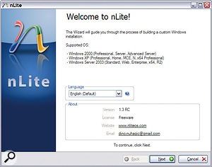 If your Windows CD-ROM is an older version, you can easily and legitimately integrate your choice of Service Packs and create a new bootable 'slipstream' CD-ROM, or even (using nLite, shown here) incorporate your choice of drivers and discard unwanted Windows features.