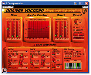 A classic vocoder such as Prosoniq's Orange Vocoder, shown here, can make guitars talk and turn drum loops into a choir.