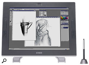 Touchscreens like Wacom's Cintiq, shown here, provide direct interaction with the image on screen — appealing, but expensive.