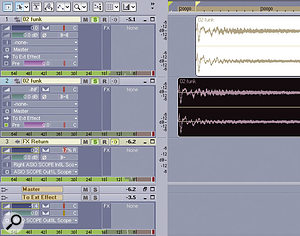 In this screen, Track 1 is the original drum track. Track 2 is a 'clone' of Track 1, but has a pre-fader send control that feeds the buss going to the external effect. Because this track will be shifted ahead in time to compensate for latency, its volume is turned down so you don't hear the track itself in the mix. In the buss pane, note the 'To Ext Effect' track, which is set to the ASIO driver that feeds the analogue output. Finally, Track 3 is the effect return track, with its input set to the ASIO driver that's patched to the analogue input, and therefore receives the external effect output.