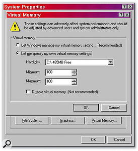 Although tweaks such as finding the most suitable Virtual Memory settings were far more critical to smooth audio recording and playback than the equivalent Paging File settings in Windows XP, Windows 98SE nevertheless remains the most suitable operating system for PCs that are slower than a Pentium II 450MHz and have less than 256MB of RAM.