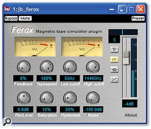 With neat graphics and sophisticated sounds, Jeroen Breebaart's freeware Ferox plug-in offers a full range of tape-modelling effects, including bass and HF 'humps', odd-harmonic generation, saturation and hysteresis.