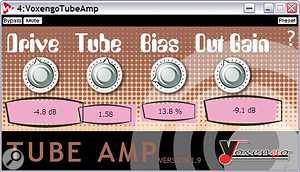 Despite a slightly garish interface, Voxengo's freeware TubeAmp plug-in offers a wide range of sophisticated tube sounds, ranging from warm and expensive valve amps through to more obvious overdrive and distortion effects.